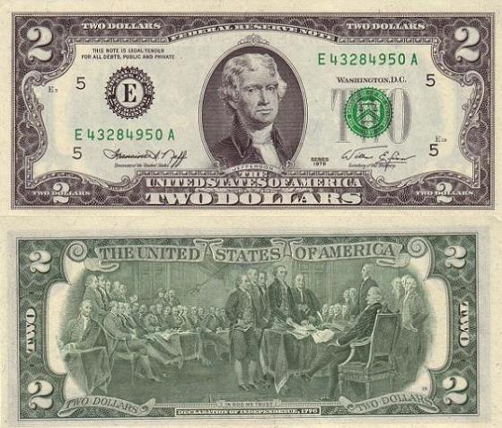 billet de 2 dollars rare